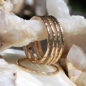 14K Gold-Filled Hammered Rings (set of 2)